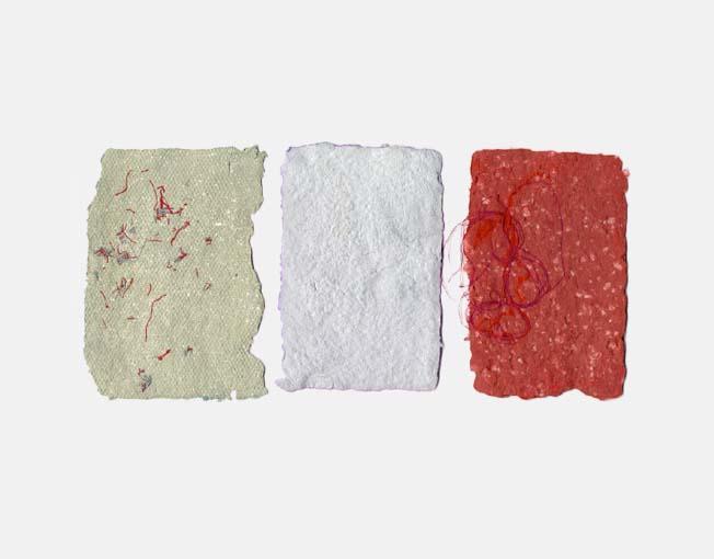 Drie kleuren katoenpapier met zijde