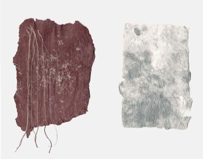 Handgeschept katoenpapier met diverse pigmenten en zijde